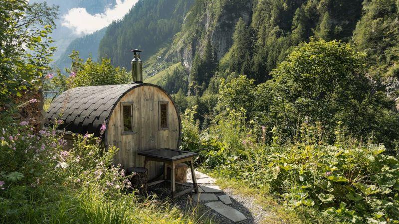Sauna zewnętrzna w górach